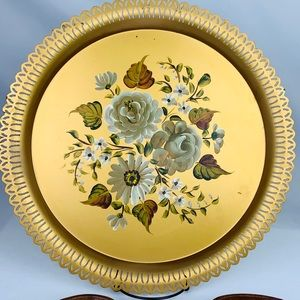 Nashco Hand Painted Floral Gold Tole Tray
